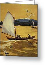 Outrigger Off Shore Greeting Card by Hawaiian Legacy Archive - Printscapes
