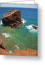 Overlooking Puu Pehe II Greeting Card by Ron Dahlquist - Printscapes