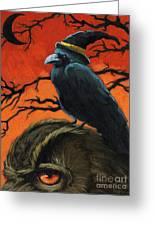 Owl And Crow Halloween Greeting Card by Linda Apple