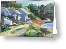 Oyster River Shacks Greeting Card by Barbara Hageman