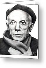 Pablo Picasso Greeting Card by Murphy Elliott