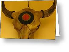 Painted Bison Skull Greeting Card by Austen Brauker