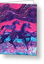 Painted Horses Below The Wind Greeting Card by Carol  Law Conklin