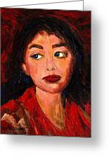Painting Of A Dark Haired Girl Commissioned Art Greeting Card by Carole Spandau