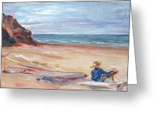 Painting The Coast - Scenic Landscape With Figure Greeting Card by Quin Sweetman
