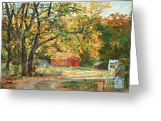 Painting The Fall Colors Greeting Card by Claire Gagnon