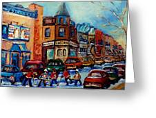 Paintings Of Montreal Hockey On Fairmount Street Greeting Card by Carole Spandau