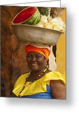 Palenquera In Cartagena Colombia Greeting Card by Anna Smith