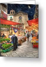 Palermo Market Place Greeting Card by Juli Scalzi