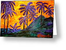 Palm Trees In Paradise Greeting Card by Felix Zapata