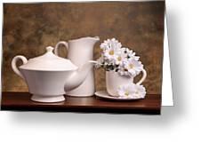 Panoramic Teapot With Daisies Greeting Card by Tom Mc Nemar