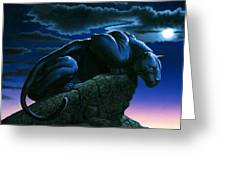 Panther On Rock Greeting Card by MGL Studio - Chris Hiett