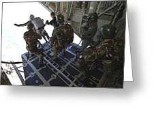 Paratroopers Jump From A C-130 Hercules Greeting Card by Andrew Chittock
