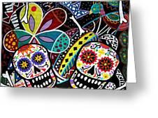 PAREJA DIA DE LOS MUERTOS Greeting Card by PRISTINE CARTERA TURKUS