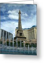 Paris Hotel And Bellagio Fountains Greeting Card by Anita Burgermeister