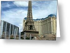Paris Hotel and Bellagio Fountains Greeting Card by Anita Burgermeister