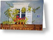 Parisian Window Greeting Card by Mary Ellen  Mueller Legault