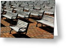 Park Benches Greeting Card by Perry Webster