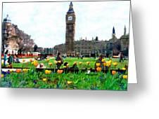 Parliament Square London Greeting Card by Kurt Van Wagner