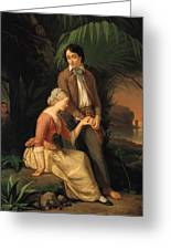 Paul And Virginie Greeting Card by French School