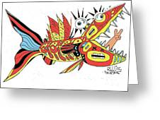 Peace Funky Folk Fish Greeting Card by Robert Wolverton Jr