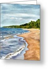 Peaceful Beach At Pier Cove Ll Greeting Card by Michelle Calkins