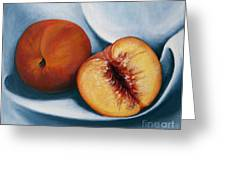 Peaches Greeting Card by Dinny Madill