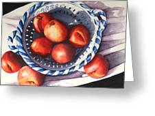Peaches In Blue Greeting Card by Marsha Chandler