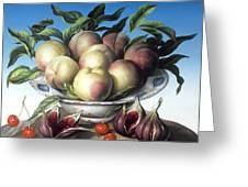 Peaches In Delft Bowl With Purple Figs Greeting Card by Amelia Kleiser