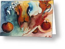 Peaches Greeting Card by Laura Joan Levine