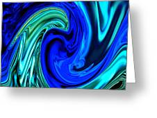 Peacocks Blue Abstract  Greeting Card by Michelle  BarlondSmith