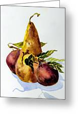 Pear And Apples Greeting Card by Mindy Newman