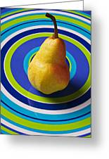 Pear On Plate With Circles Greeting Card by Garry Gay