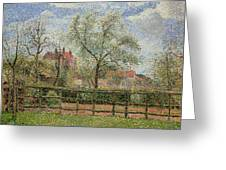 Pear Trees And Flowers At Eragny Greeting Card by Camille Pissarro