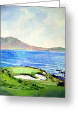 Pebble Beach Gc 7th Hole Greeting Card by Scott Mulholland