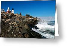 Pemaquid Point Lighthouse - seascape landscape rocky coast Maine Greeting Card by Jon Holiday