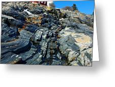 Pemaquid Point Lighthouse Reflection - seascape landscape rocky coast Maine Greeting Card by Jon Holiday