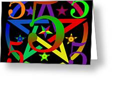 Penta Pentacle In Black Greeting Card by Eric Edelman