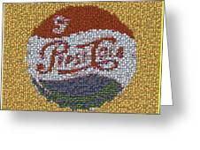 Pepsi Bottle Cap Mosaic Greeting Card by Paul Van Scott