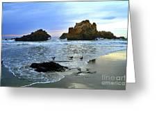 Pfeiffer Beach Evening - Big Sur Greeting Card by Charlene Mitchell