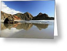 Pfeiffer Beach Reflection Greeting Card by Pierre Leclerc Photography