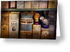 Pharmacy - Oils And Balms Greeting Card by Mike Savad
