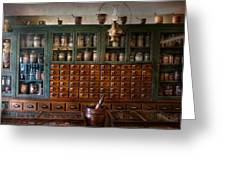 Pharmacy - Right Behind The Counter Greeting Card by Mike Savad