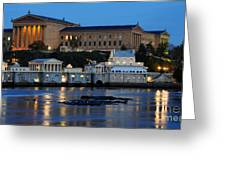 Philadelphia Art Museum And Fairmount Water Works Greeting Card by Gary Whitton