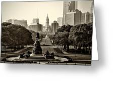 Philadelphia Benjamin Franklin Parkway in Sepia Greeting Card by Bill Cannon