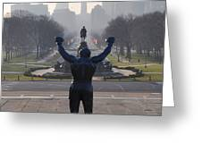 Philadelphia Champion - Rocky Greeting Card by Bill Cannon