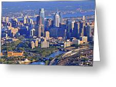Philadelphia Museum of Art and City Skyline Aerial Panorama Greeting Card by Duncan Pearson