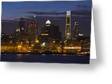 Philadelphia Skyline At Night Greeting Card by Brendan Reals