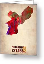 Philadelphia Watercolor Map Greeting Card by Naxart Studio