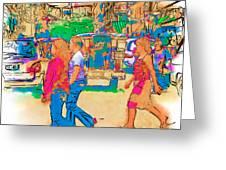 Philippine Girls Crossing Street Greeting Card by Rolf Bertram